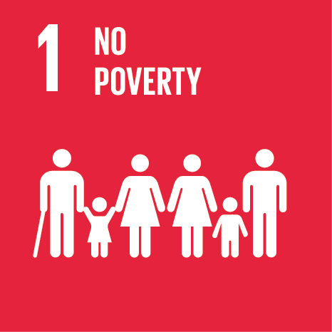 Icon and Link to the United Nations sustainable development goal page for no poverty