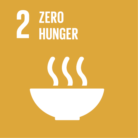 Icon and Link to the United Nations sustainable development goal page for zero hunger