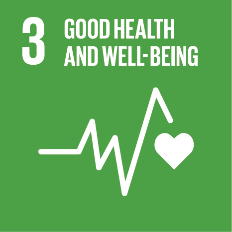 Icon and Link to the United Nations sustainable development goal page for Good Health and Well-being