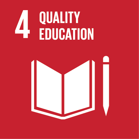 Icon and Link to the United Nations sustainable development goal page for Quality Education