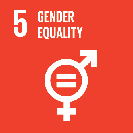 Icon and Link to the United Nations sustainable development goal page for Gender Equality