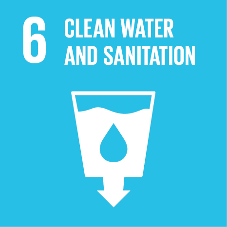 Icon and Link to the United Nations sustainable development goal page for Clean Water and Sanitation