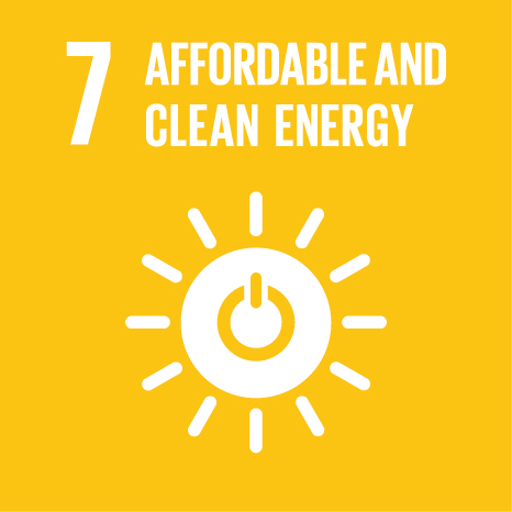 Icon and Link to the United Nations sustainable development goal page for Affordable and Clean Energy