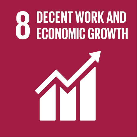 Icon and Link to the United Nations sustainable development goal page for Decent Work and Economic Growth
