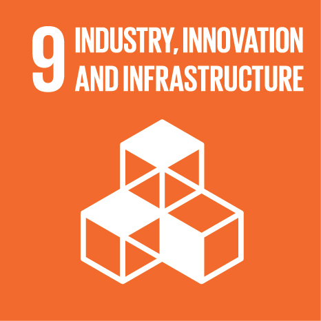 Icon and Link to the United Nations sustainable development goal page for Industries, Innovation and Infrastructure