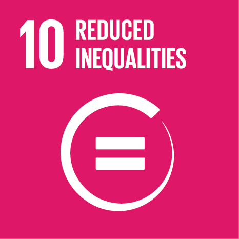 Icon and Link to the United Nations sustainable development goal page for Reduce Inequalities