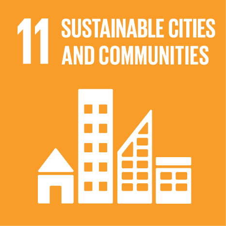 Icon and Link to the United Nations sustainable development goal page for Sustainable Cities and Communities