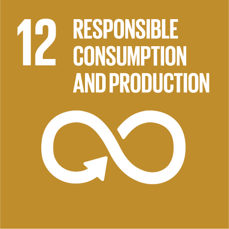 Icon and Link to the United Nations sustainable development goal page for Responsible Consumption and Production