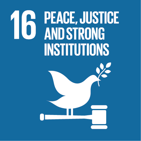 Icon and Link to the United Nations sustainable development goal page for Peace, Justice and Strong Institutions
